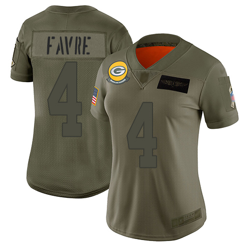 Nike Packers #4 Brett Favre Camo Women's Stitched NFL Limited 2019 Salute to Service Jersey