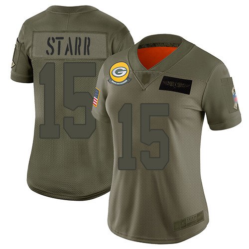 Nike Packers #15 Bart Starr Camo Women's Stitched NFL Limited 2019 Salute to Service Jersey
