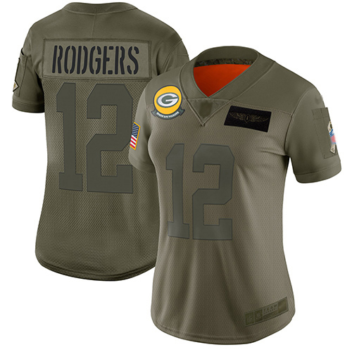 Nike Packers #12 Aaron Rodgers Camo Women's Stitched NFL Limited 2019 Salute to Service Jersey