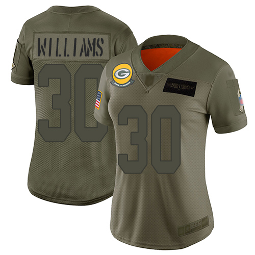 Nike Packers #30 Jamaal Williams Camo Women's Stitched NFL Limited 2019 Salute to Service Jersey
