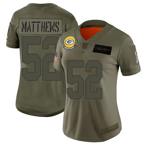 Nike Packers #52 Clay Matthews Camo Women's Stitched NFL Limited 2019 Salute to Service Jersey