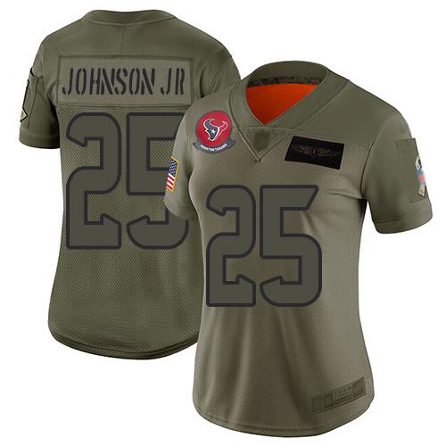 Nike Texans #25 Duke Johnson Jr Camo Women's Stitched NFL Limited 2019 Salute to Service Jersey