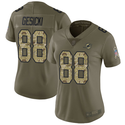 Nike Dolphins #88 Mike Gesicki Olive/Camo Women's Stitched NFL Limited 2017 Salute to Service Jersey