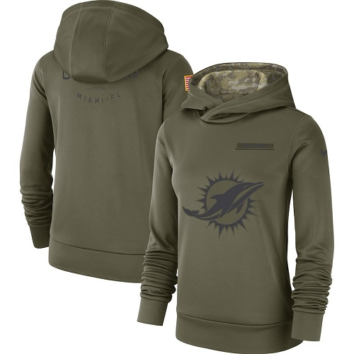 Women's Miami Dolphins Nike Olive Salute to Service Sideline Therma Performance Pullover Hoodie