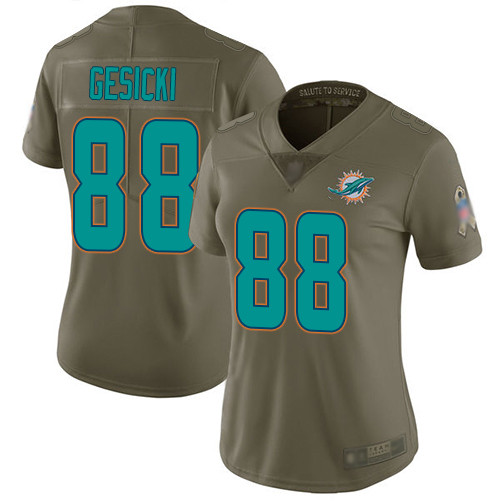 Nike Dolphins #88 Mike Gesicki Olive Women's Stitched NFL Limited 2017 Salute to Service Jersey