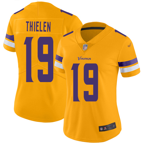 Nike Vikings #19 Adam Thielen Gold Women's Stitched NFL Limited Inverted Legend Jersey
