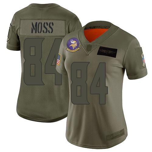 Nike Vikings #84 Randy Moss Camo Women's Stitched NFL Limited 2019 Salute to Service Jersey