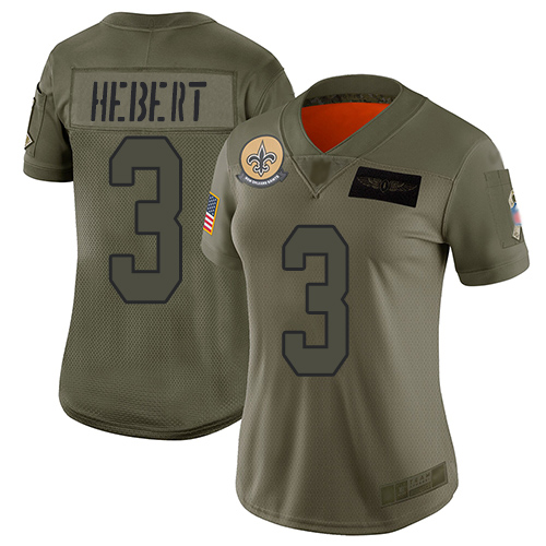 Nike Saints #3 Bobby Hebert Camo Women's Stitched NFL Limited 2019 Salute to Service Jersey