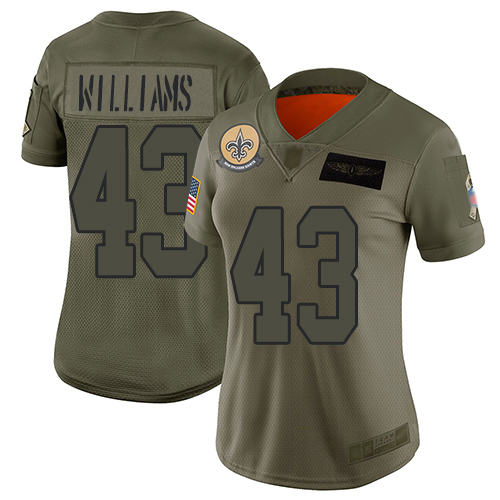 Nike Saints #43 Marcus Williams Camo Women's Stitched NFL Limited 2019 Salute to Service Jersey