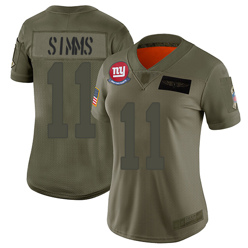 Nike Giants #11 Phil Simms Camo Women's Stitched NFL Limited 2019 Salute to Service Jersey