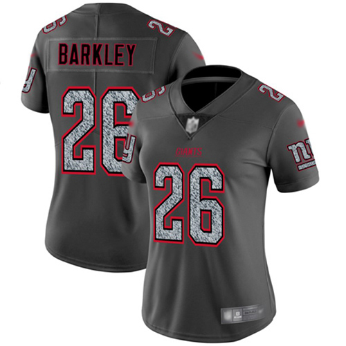 Nike Giants #26 Saquon Barkley Gray Static Women's Stitched NFL Vapor Untouchable Limited Jersey