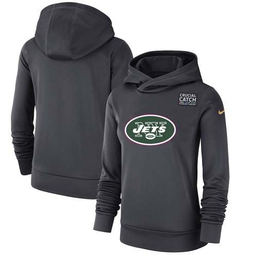 Women's New York Jets Nike Anthracite Crucial Catch Performance Pullover Hoodie