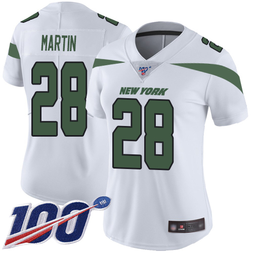 Nike Jets #28 Curtis Martin White Women's Stitched NFL 100th Season Vapor Limited Jersey