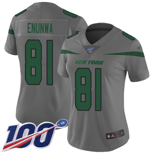 Nike Jets #81 Quincy Enunwa Gray Women's Stitched NFL Limited Inverted Legend 100th Season Jersey