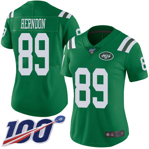 Nike Jets #89 Chris Herndon Green Women's Stitched NFL Limited Rush 100th Season Jersey