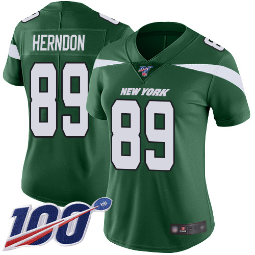 Nike Jets #89 Chris Herndon Green Team Color Women's Stitched NFL 100th Season Vapor Limited Jersey