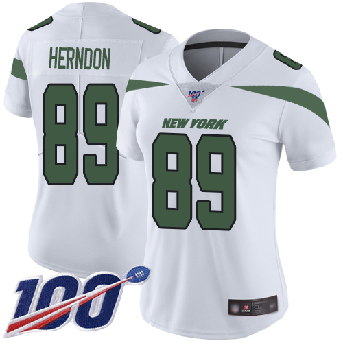 Nike Jets #89 Chris Herndon White Women's Stitched NFL 100th Season Vapor Limited Jersey