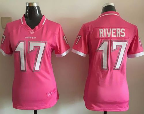 Nike Chargers #17 Philip Rivers Pink Women's Stitched NFL Elite Bubble Gum Jersey