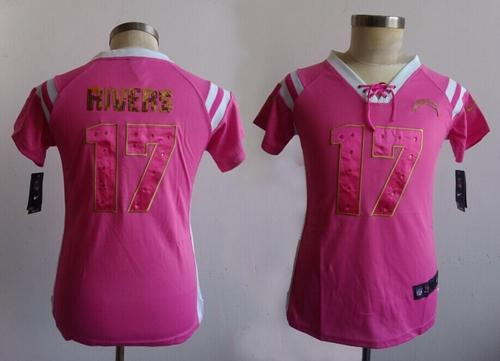 Nike Chargers #17 Philip Rivers Pink Women's Stitched NFL Elite Draft Him Shimmer Jersey