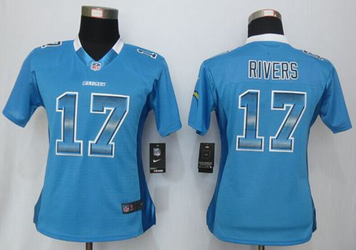 Nike Chargers #17 Philip Rivers Electric Blue Alternate Women's Stitched NFL Elite Strobe Jersey