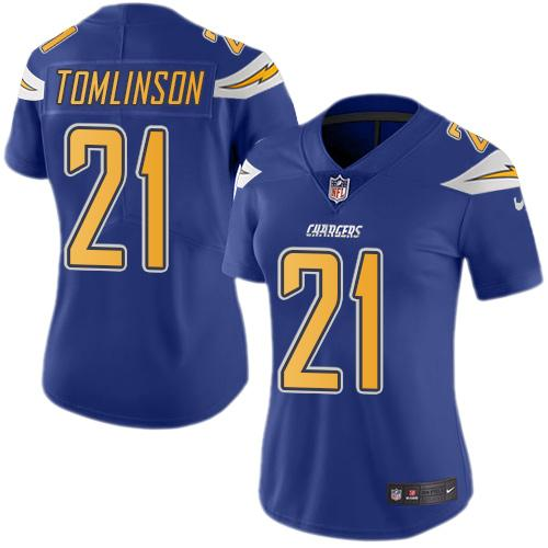 Nike Chargers #21 LaDainian Tomlinson Electric Blue Women's Stitched NFL Limited Rush Jersey