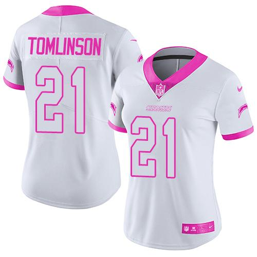Nike Chargers #21 LaDainian Tomlinson White/Pink Women's Stitched NFL Limited Rush Fashion Jersey