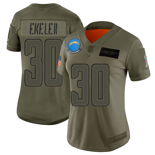 Nike Chargers #30 Austin Ekeler Camo Women's Stitched NFL Limited 2019 Salute to Service Jersey