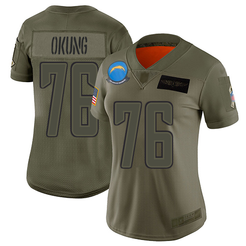 Nike Chargers #76 Russell Okung Camo Women's Stitched NFL Limited 2019 Salute to Service Jersey