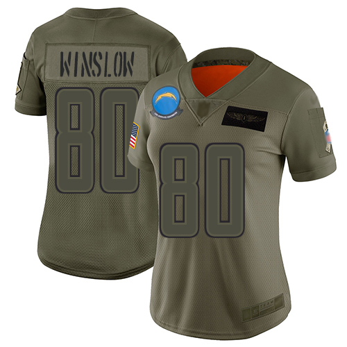 Nike Chargers #80 Kellen Winslow Camo Women's Stitched NFL Limited 2019 Salute to Service Jersey