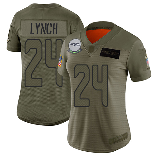 Nike Seahawks #24 Marshawn Lynch Camo Women's Stitched NFL Limited 2019 Salute to Service Jersey