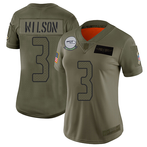 Nike Seahawks #3 Russell Wilson Camo Women's Stitched NFL Limited 2019 Salute to Service Jersey