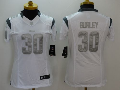 Nike Rams #30 Todd Gurley White Women's Stitched NFL Limited Platinum Jersey