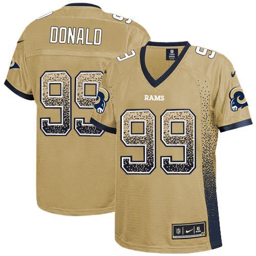 Nike Rams #99 Aaron Donald Gold Women's Stitched NFL Elite Drift Fashion Jersey