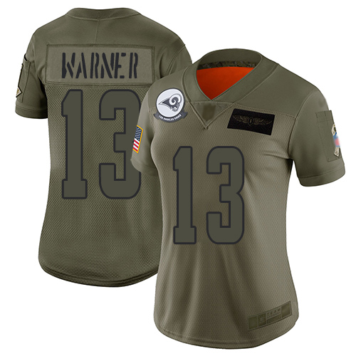 Nike Rams #13 Kurt Warner Camo Women's Stitched NFL Limited 2019 Salute to Service Jersey
