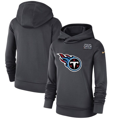 Women's Tennessee Titans Nike Anthracite Crucial Catch Performance Pullover Hoodie