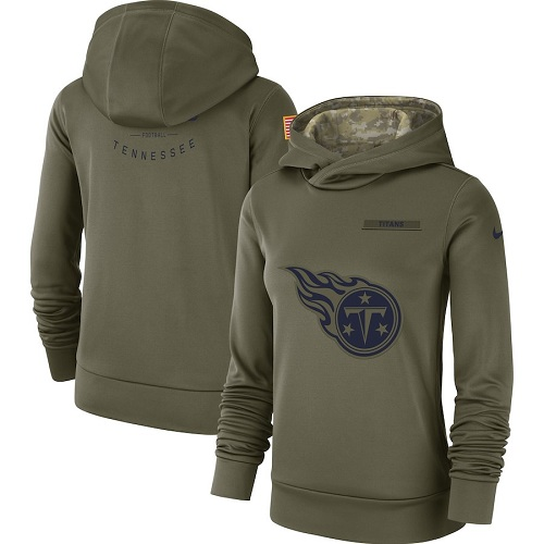 Women's Tennessee Titans Nike Olive Salute to Service Sideline Therma Performance Pullover Hoodie