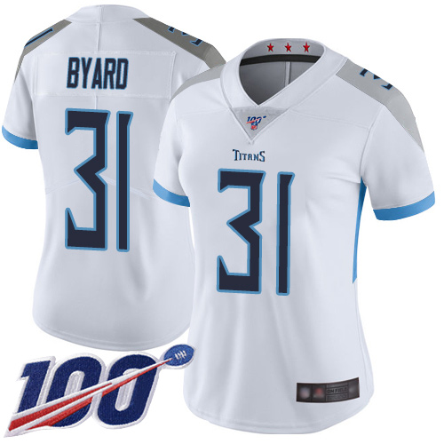 Nike Titans #31 Kevin Byard White Women's Stitched NFL 100th Season Vapor Limited Jersey