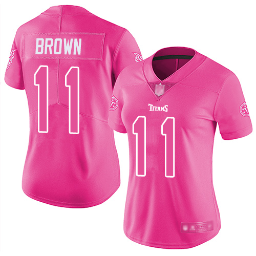 Nike Titans #11 A.J. Brown Pink Women's Stitched NFL Limited Rush Fashion Jersey