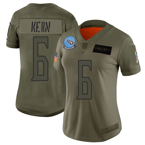 Nike Titans #6 Brett Kern Camo Women's Stitched NFL Limited 2019 Salute to Service Jersey