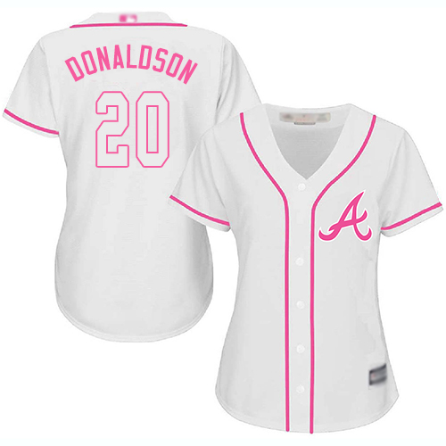 Braves #20 Josh Donaldson White/Pink Fashion Women's Stitched MLB Jersey
