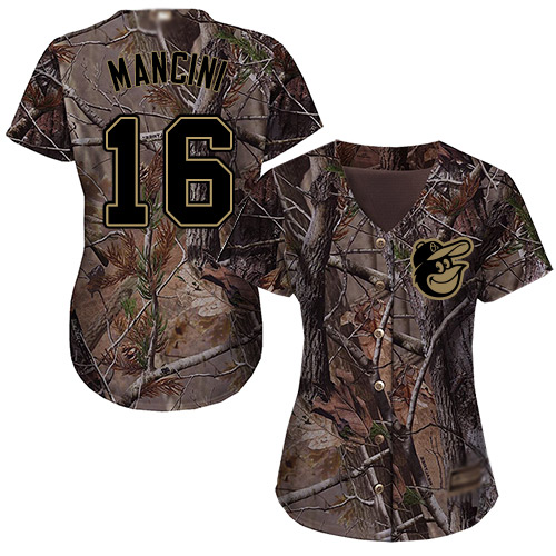 Orioles #16 Trey Mancini Camo Realtree Collection Cool Base Women's Stitched MLB Jersey