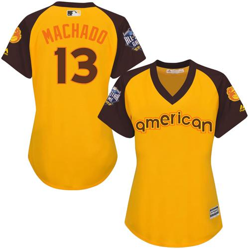 Orioles #13 Manny Machado Gold 2016 All-Star American League Women's Stitched MLB Jersey