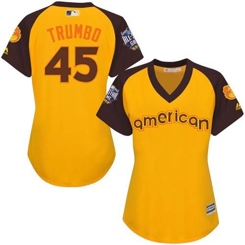 Orioles #45 Mark Trumbo Gold 2016 All-Star American League Women's Stitched MLB Jersey