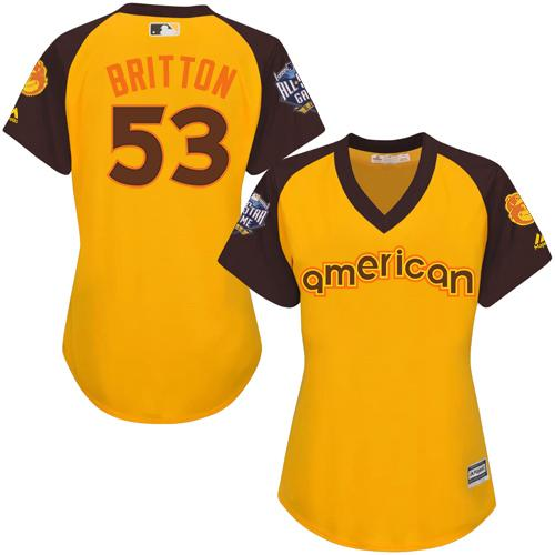 Orioles #53 Zach Britton Gold 2016 All-Star American League Women's Stitched MLB Jersey