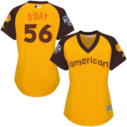 Orioles #56 Darren O'Day Gold 2016 All-Star American League Women's Stitched MLB Jersey
