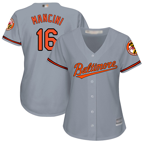 Orioles #16 Trey Mancini Grey Road Women's Stitched MLB Jersey