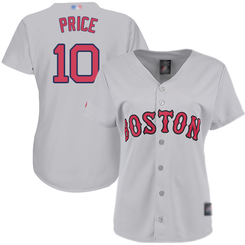 Red Sox #10 David Price Grey Road Women's Stitched MLB Jersey