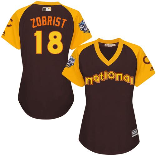 Cubs #18 Ben Zobrist Brown 2016 All-Star National League Women's Stitched MLB Jersey