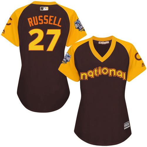 Cubs #27 Addison Russell Brown 2016 All-Star National League Women's Stitched MLB Jersey