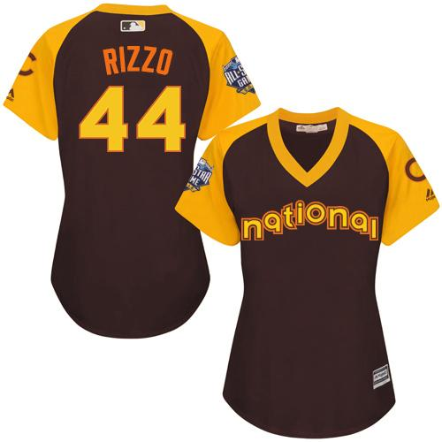 Cubs #44 Anthony Rizzo Brown 2016 All-Star National League Women's Stitched MLB Jersey